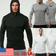US Mens Lightweight Pullover Muscle Hood Long Sleeve Shirts Athletic Gym Hoodies
