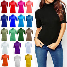 Womens Short Sleeve Gathered Polo Turtle Neck Ladies T-Shirt Top Plus Size