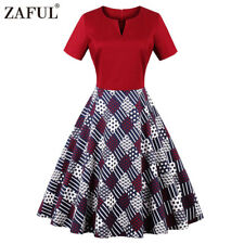 Women 50s Party Dress Vintage Playing Card Printing Plus Size Swing Dress