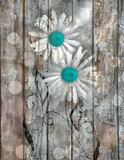 Rustic Farmhouse Wall Art, Aqua Brown Daisy Flowers Home Decor Matted Picture