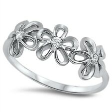 STERLING SILVER Simulated Diamond Daisy Flower Cocktail Dress Ring Size 4 H 5 J