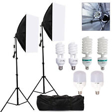Photography Studio Soft Box Softbox Light Stand Continuous Lighting & Bulbs Kit