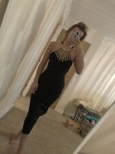 d9860 Size 14 Boohoo Black Gold Harness Strappy Choker Bodycon Midi Dress Tight