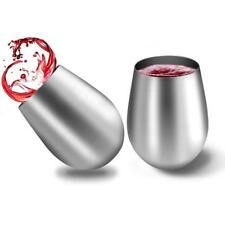 Stainless Steel Stemless Wine Glasses GUYUCOM Set of 2 Cups 20oz...