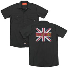Def Leppard Rock Band UNION JACK Licensed Adult Dickies Work Shirt All Sizes