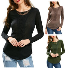 T-Shirt Top Blouse Woman Casual Scoop Neck Hollow Out Crochet Spliced Blouse