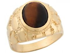 10k or 14k Yellow Gold Synthetic Tigers Eye Unique Nugget Designer Mens Ring