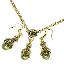Green Glass Pearl Bead Necklace Chain Choker Earring Set PIERCED OR NON-PIERCED