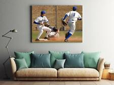 Framed Canvas Stretched Print Baseball Second Base Play Infield