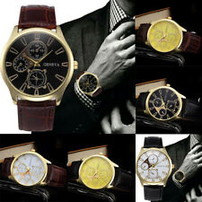 Luxuy Men Business Sports Military Watch Leather Strap Casual Quartz Wrist Watch