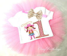 Cowgirl Pink Cow Lasso 1st First Girl Tutu Headband Shirt Outfit Custom Age Size
