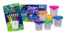 Kids Art Painting Set with No-Spill Cups and Easy-Grip Natural Bristle Brushes