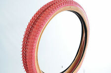 """SET 20 x 1.75 AND 20 x 2.125 OLD SCHOOL BMX """"SNAKE BELLY"""" TYRES RED AMBERWALL"""