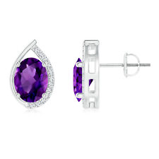 Solitaire Oval Amethyst Diamond Stud Earrings 14K White Gold Screw Back