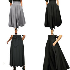 Womens High Waist Pleated A Line Long Skirt Front Slit Belted Maxi Skirt Dresses