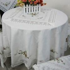 Round Shape Cotton Fabric Embroidery Lace Linen Towel Cover Table Cloth