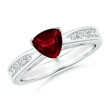 Solitaire Trillion Garnet Diamond Ring with Accents 14K White Gold Size 3-13