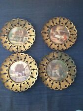 Set of 4 Vintage Made in England Brass Wall Hanging Plates Decor Seaside Scenry