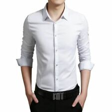 Men White Color Cotton Fabric Casual Wear Long Sleeve Slim Fit Shirt