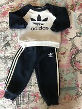 Baby Boys Adidas Tracksuit, Age 9-12 months, Light Grey & Navy.