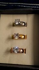 Set of 3 Stainless Steel Simulated Diamond Solitaire Rings Sz 8  TGW 9 cts