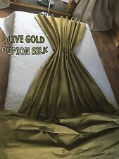 OLIVE GOLD DUPION SILK, THERMAL INTERLINED MTM CURTAINS. 5FT-15FT WIDE BAY ORDER