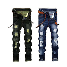 Casual Mens Retro Ripped Tapered Leg Jeans Pants Broken Hole Skinny Trousers
