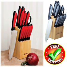 Cutlery Knife Block Set 14-Piece Wood Stainless Steel Chef Kitchen Knives Pine