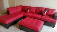 Leather Reversible Chaise Sectional + Ottoman