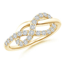 Round Diamond Infinity Knot Ring in Prong Setting 14K Yellow Gold Size 3-13