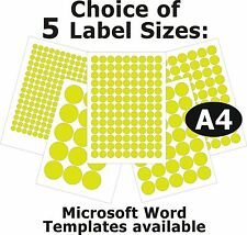 FLUO YELLOW Round Laser Copier Inkjet Labels 5 A4 Sheets Self-Adhesive Stickers