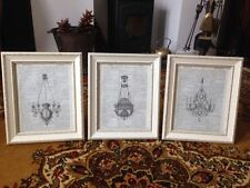 Gorgeous Set Of Vintage Shabby Chic Feature Wall Art Prints Antique Chandelier 3