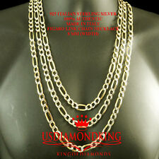 MENS WOMEMS STERLING SILVER TWO TONE FIGARO LINK CHAIN NECKLACE 8 MM 24~30 INCH