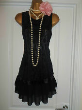 New Look 1920s Style Gatsby Flapper Charleston Lace Beaded Dress Size 14