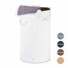 Bamboo Folding Laundry Basket Bin Round Hamper 80L 65cm Tall 5 Colors Available