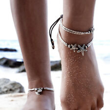 32cm Women's Fashion Jewelry Starfish Anklets Ankle Bracelet Silver Plated