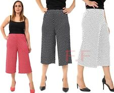 Plus Size Womens Casual Wide Leg Polka Dots Culottes 3/4 Shorts Trousers Pants