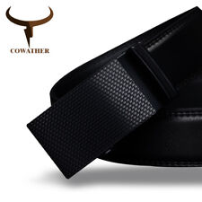 COWATHER® Luxury Quality Cow Genuine Black Leather Belt For Men Automatic Buckle