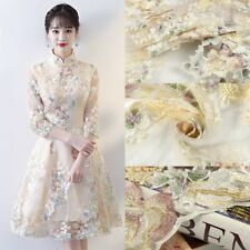 1/3/5 Meters Tulle Embroidery Flowers Lace Fabric Wedding Bridal Dress Gown 53''