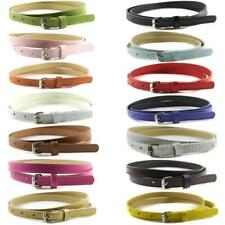Sweetness Women Faux Leather Belts Candy Color Thin Skinny Waistband Adjustable