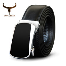 COWATHER® Black Men Belt Cow Genuine Leather Belt For Men Automatic Alloy Buckle