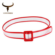 COWATHER® PVC Belts Women Wide Decorate Solid Transparent Colorful Female Straps