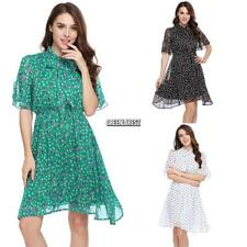 Women Tie-Bow Neck Ruffle Sleeve Floral Dot Print Casual Chiffon Dress GRLN