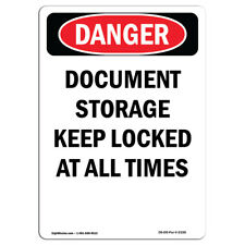 OSHA Danger - Document Storage Keep Locked At All Times | Sign or Label