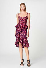 NWT Marchesa Notte Floral Print Scuba Ruffle Cocktail Dress