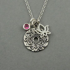 Mandala Necklace 925 Sterling Silver Jewelry for women yoga charm 12 color