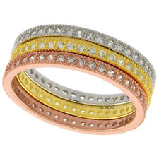 Sterling Silver Micro Pave Cubic Zirconia Eternity Stacking Rings Set of 3 Pave