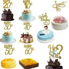 Anniversary Cupcake Topper Happy Birthday10/20/30/40/50th Cake Insert Card 10pcs