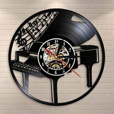 Musical Instrument Piano Wall Clock Musical Notes Vinyl Record Wall Clock Decor