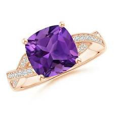 Solitaire Cushion Amethyst Criss Cross Ring with Diamond 14K Rose Gold/Silver